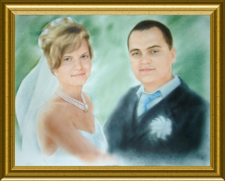 a wedding portrait. A dry brush