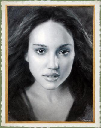 Портреты выполнены в технике сухая